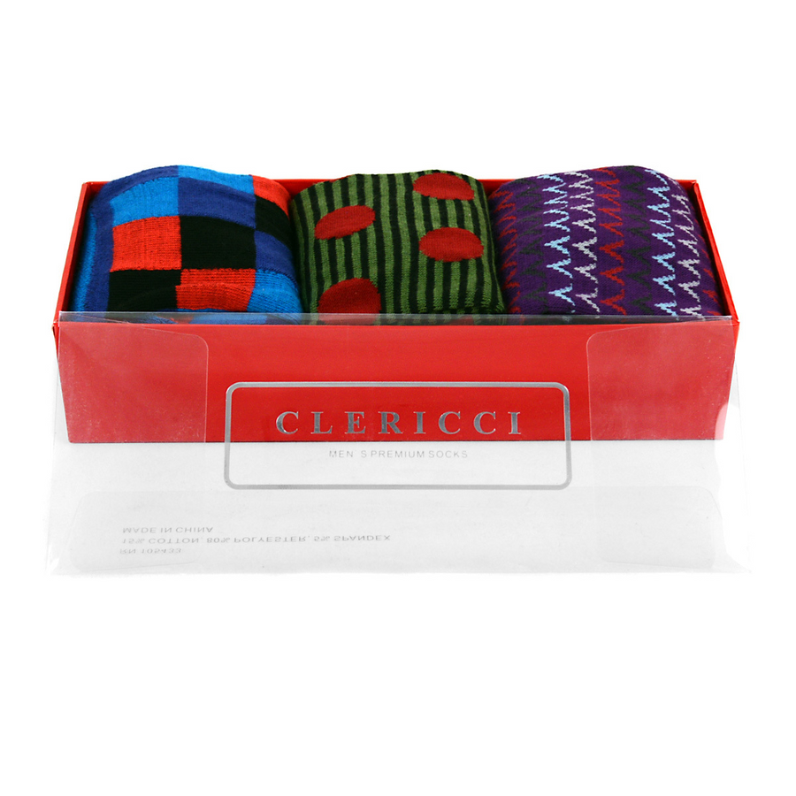 Fancy Multi Colored Socks Gift Red Box (3 paris in Box)  SGBL13