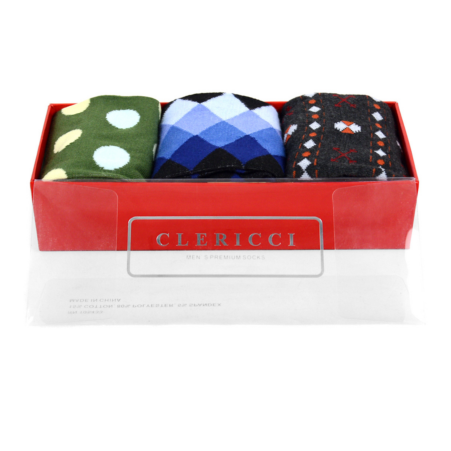 Fancy Multi Colored Socks Gift Red Box (3 paris in Box)  SGBL15