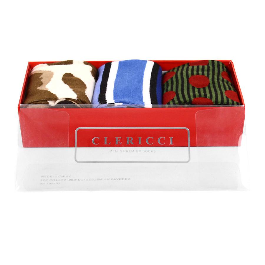 Fancy Multi Colored Socks Gift Red Box (3 paris in Box)  SGBL16