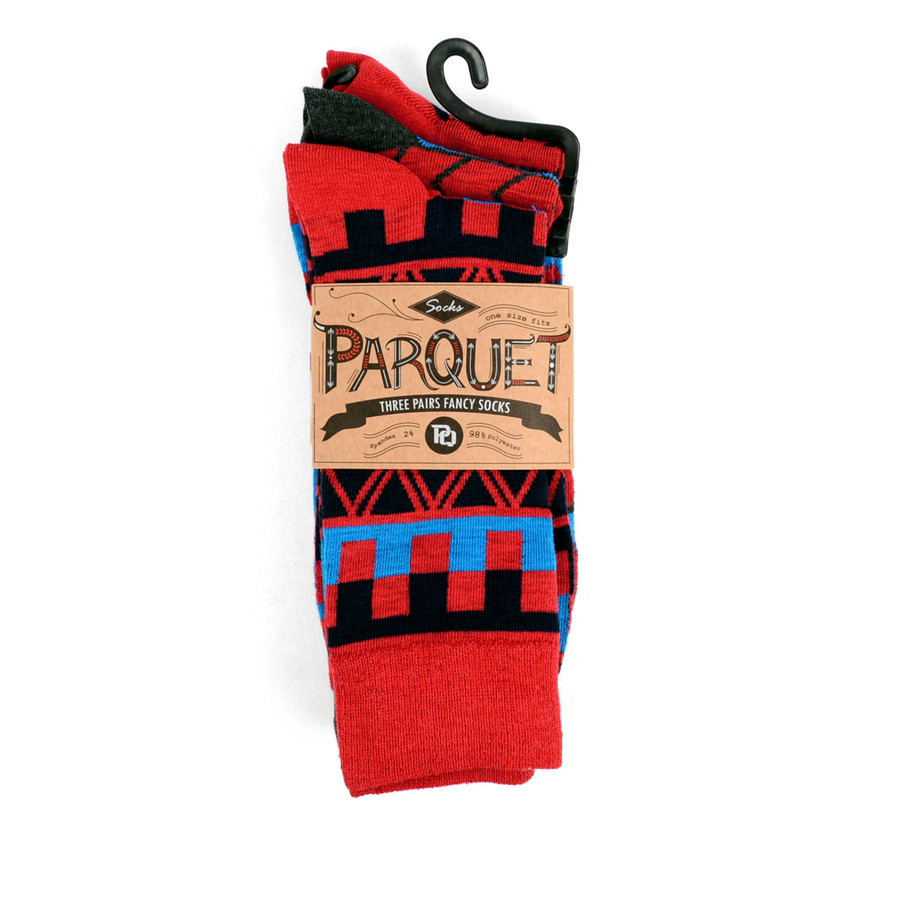 3pcs (3 Pairs) Men's Red Casual Fancy Socks 3PKS/DRD