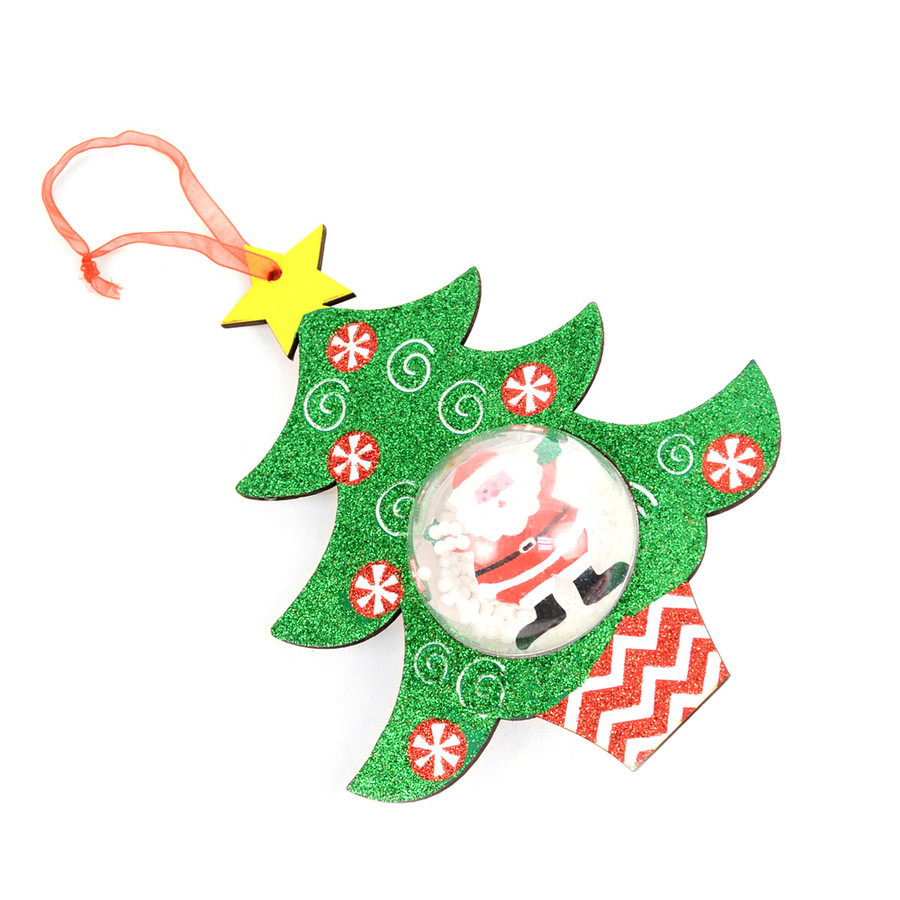 BG Holiday Sparkly Christmas Tree Ornament with Santa Snow Globe Inside