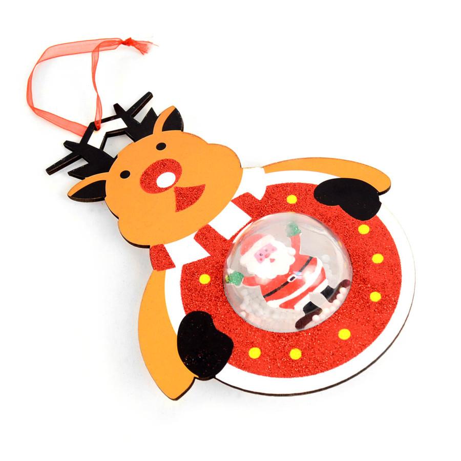BG Holiday Sparkly Reindeer Christmas Tree Ornament with Santa Snow Globe Inside