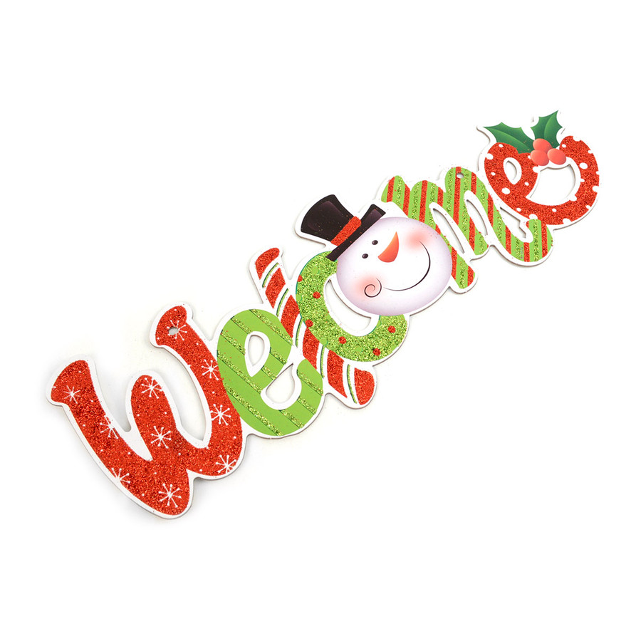 Christmas and Holiday Festive Glitter Snowman Green and Red Happy Holidays Sign Home Décor
