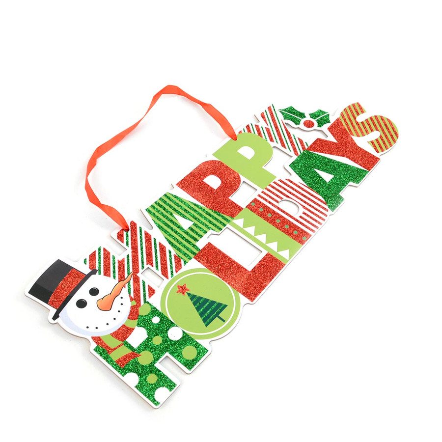 Christmas and Holiday Festive Glitter Snowman Green and Red Welcome Sign Home Décor