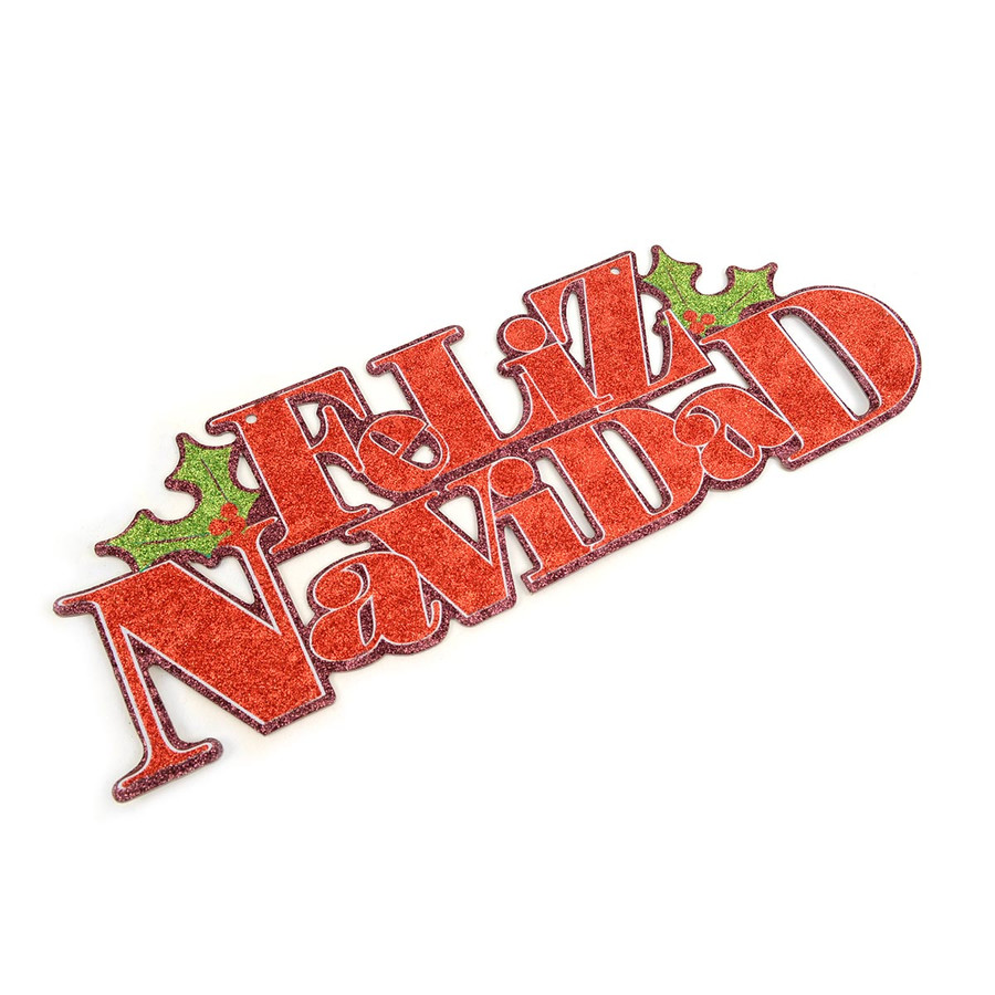 Christmas and Holiday Festive Glitter Red Feliz Navidad Hanging Sign Home Décor