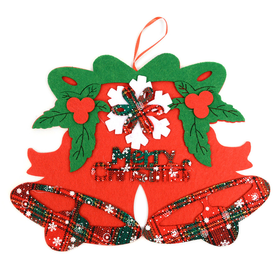 Felt Merry Christmas Red and Green Plaid Bells Christmas Tree Ornament Hanging Wall Décor