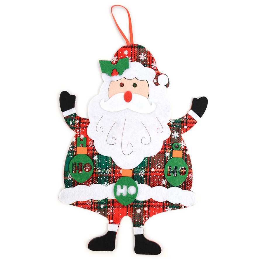 Felt Merry Christmas Red and Green Plaid Santa Claus Christmas Tree Ornament Hanging Wall Décor