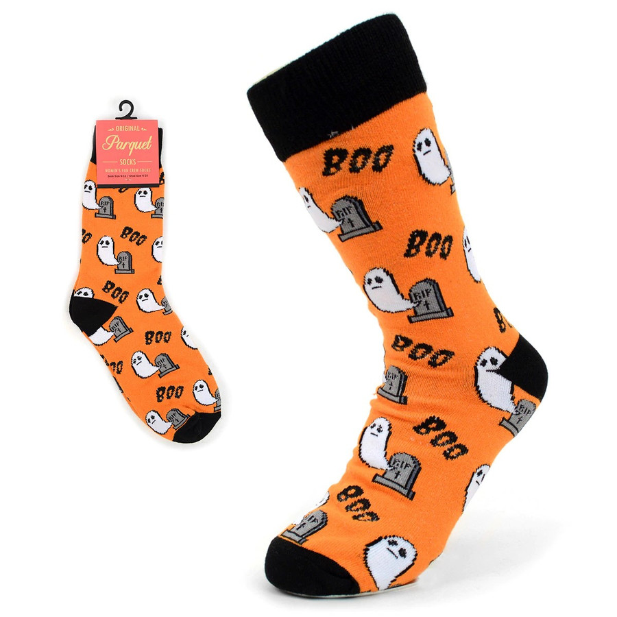 BG Halloween Ghost and Tombstone Boo Novelty Socks for Women