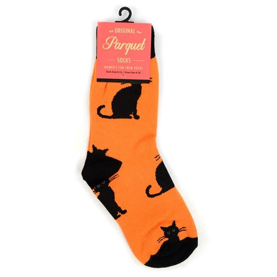 BG Black and Yellow Halloween Black Cat Novelty Socks for Women