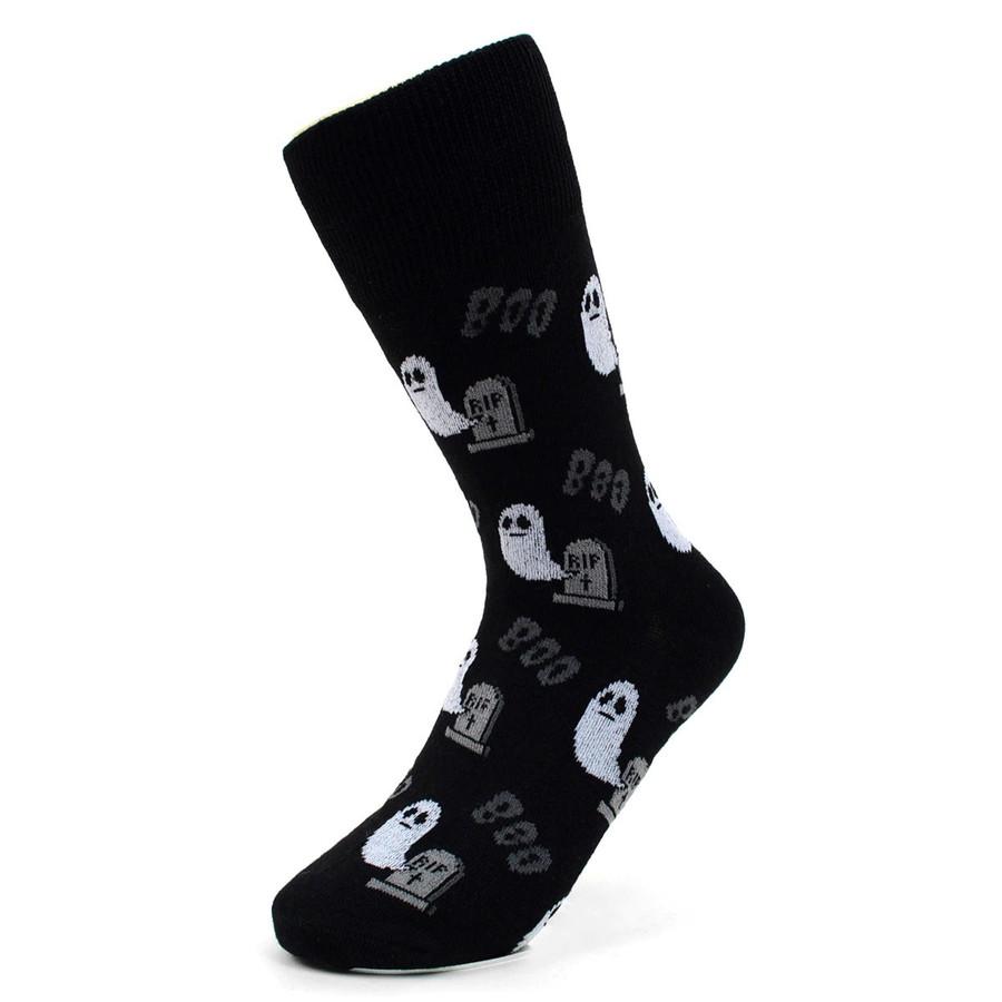 BG Halloween Ghost and Tombstone Boo Novelty Socks for Women BK