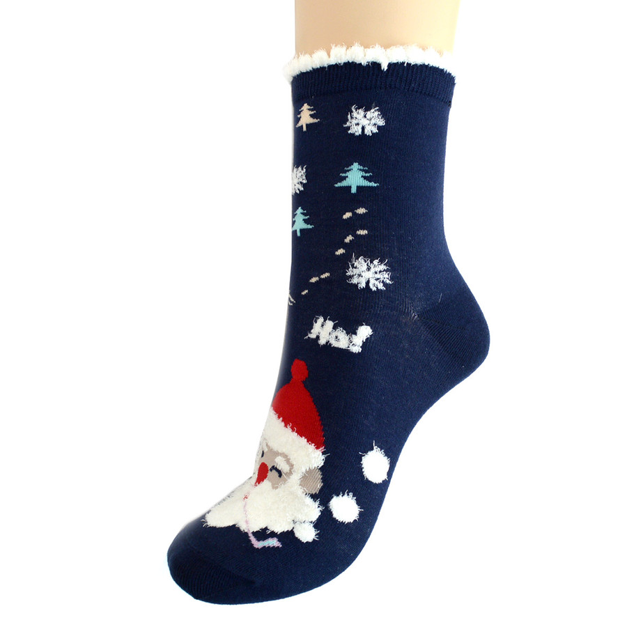 BG Womens Christmas Santa Claus Crew Socks