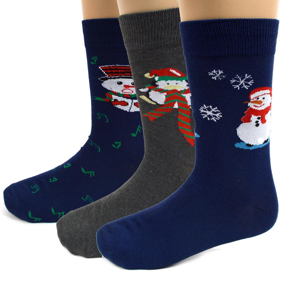BG Christmas Snowman Crew Socks for Men-3 Pairs Pack
