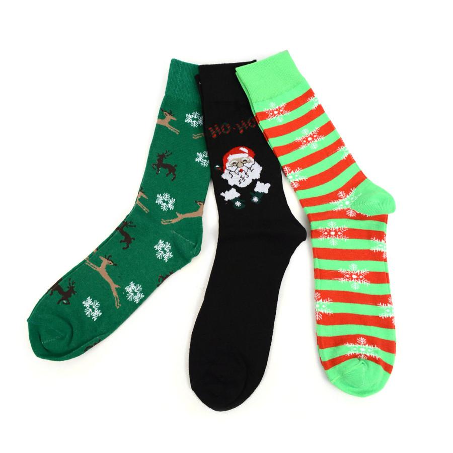 BG Christmas Holidays Crew Socks for Men-3 Pairs Pack