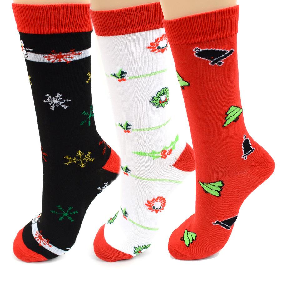 BG Womens Christmas Santa Claus Crew Socks 3PK
