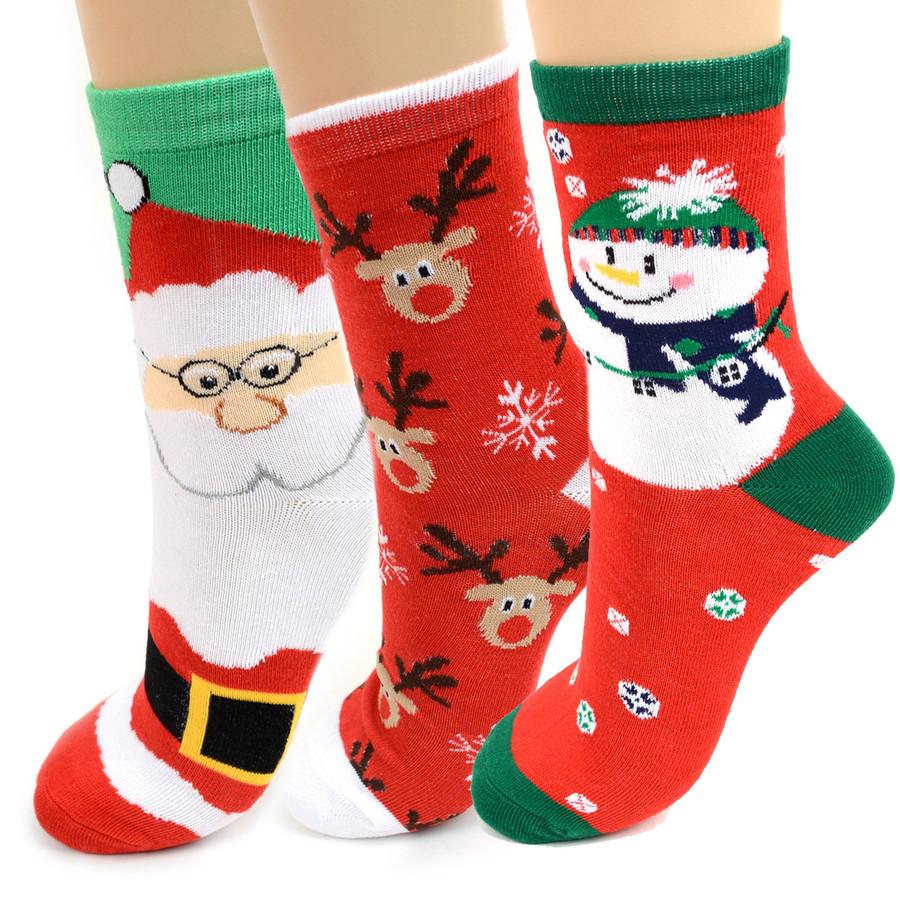 BG Christmas Santa Claus Women's Crew Socks- 3 Pairs Pack Red, Green, & White