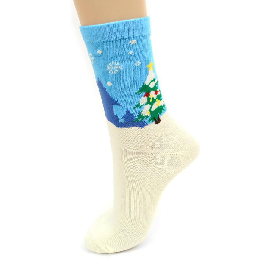 BG Women's Christmas Santa Claus Crew Socks 3PK