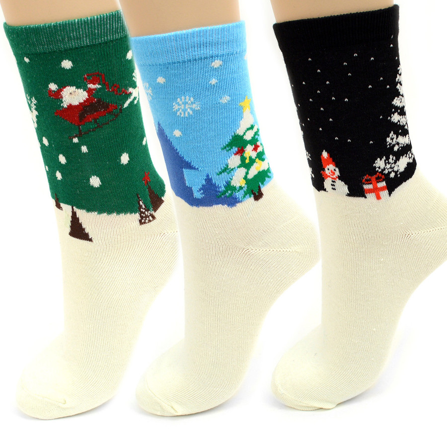 BG Women's Christmas Santa Claus Crew Socks 3PK