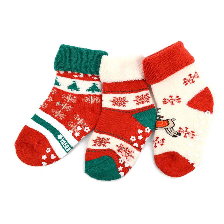 Infants Christmas Holidays Crew Socks 3 Pairs Pack