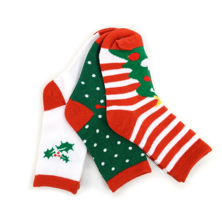 Kids Christmas Holidays Crew Socks 4-7 Yrs- 3 Pairs Pack