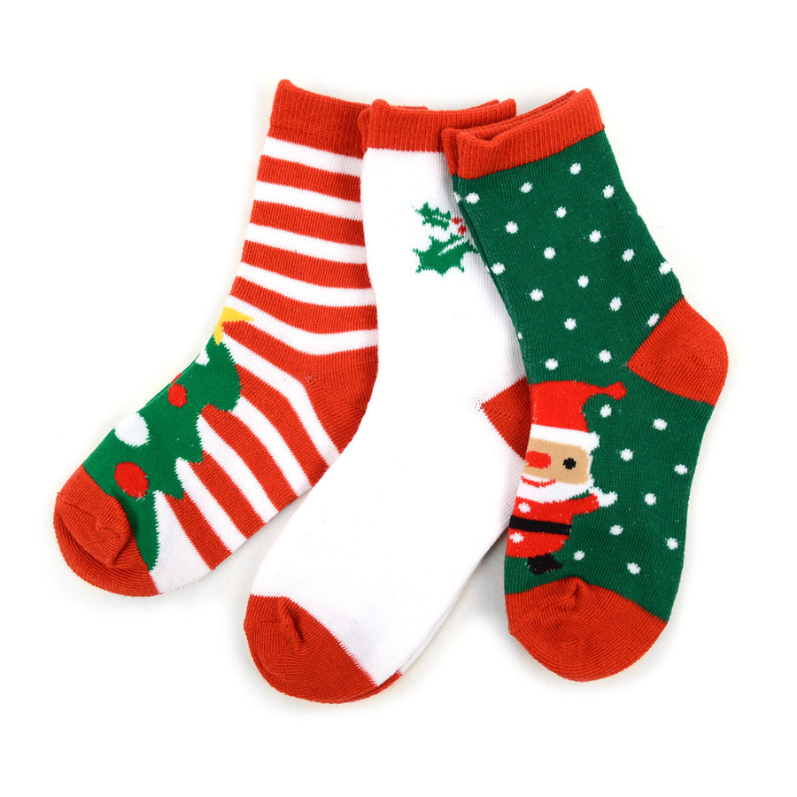 Kids Christmas Holidays Crew Socks 4-7 Yrs- 3 Pairs Pack