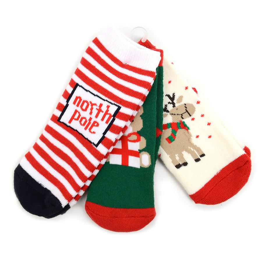 Toddler Christmas Holidays Crew Socks 2-4 yrs - 3 Pairs Pack