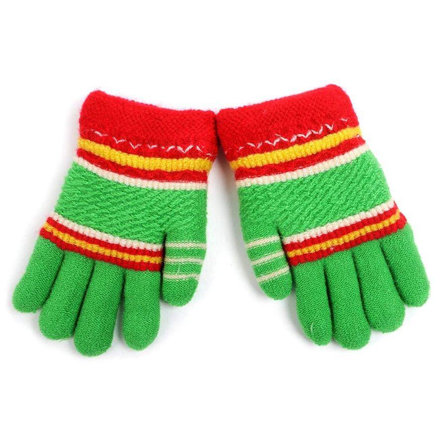 Children's Striped Fleece Lined Knit Winter Gloves