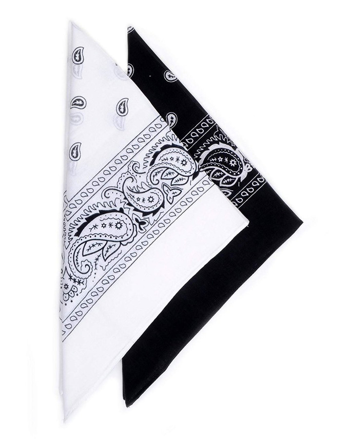 2 Color Pack Black and White Paisley Cotton Bandanas