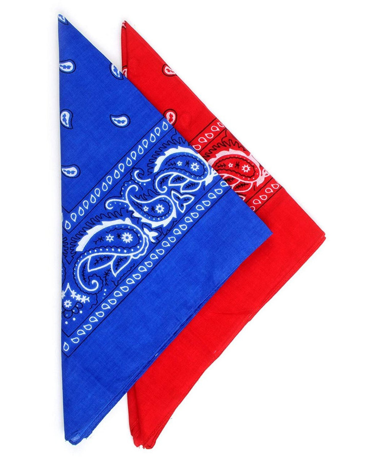 2 Color Pack Red and Blue Paisley Cotton Bandanas