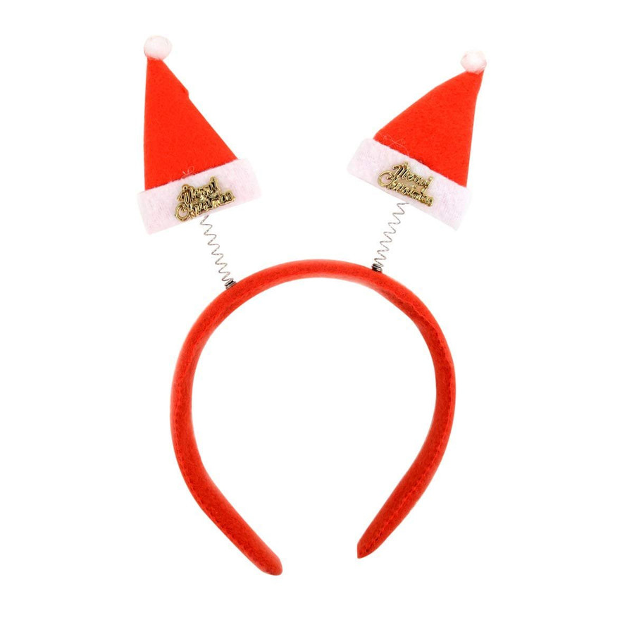BG Red Christmas and Holiday Santa Claus Hat Headband Polyester One Size Fits Most