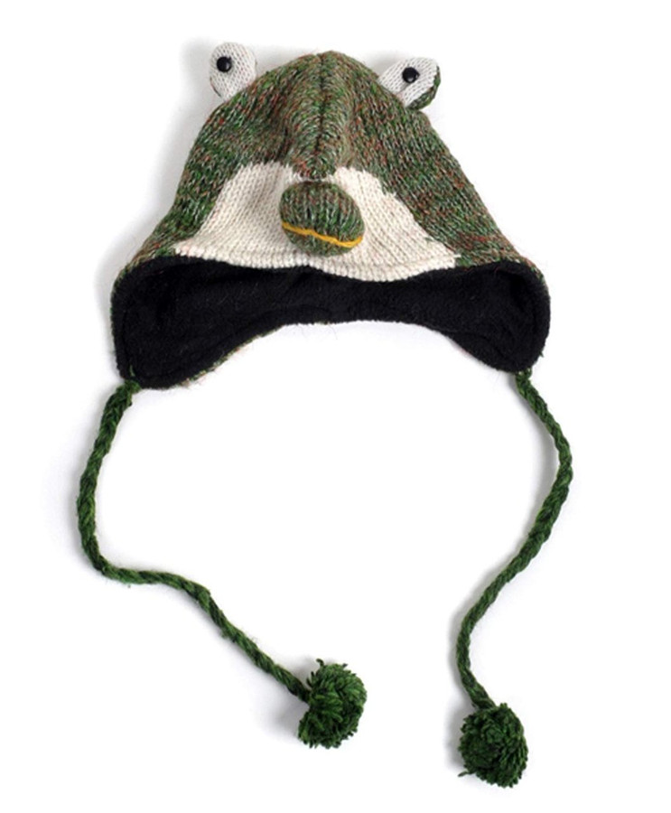 100% Wool 'Hat-imals' Plush Knit Winter Hats (Wool Collection) (Dark Green Frog (AHW023))