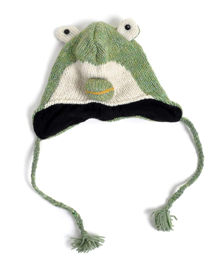 100% Wool 'Hat-imals' Plush Knit Winter Hats (Wool Collection)(Light Green Frog (AHW024))