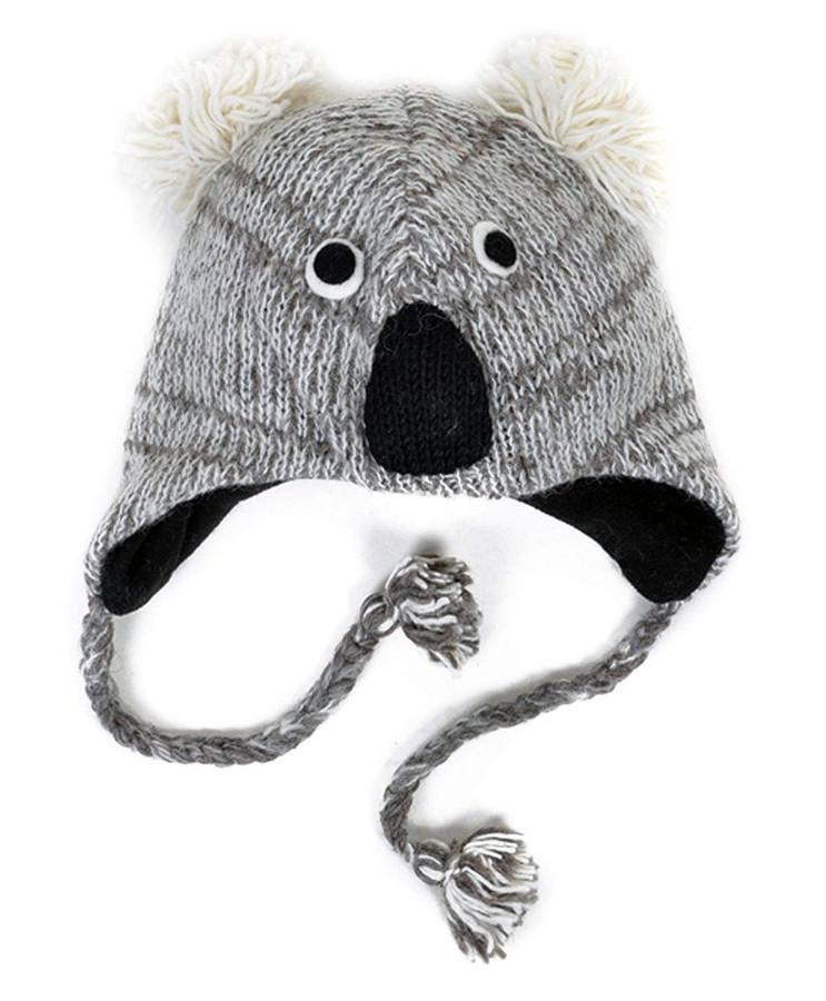 100% Wool 'Hat-imals' Plush Knit Winter Hats (Wool Collection) (Koala (AHW800))