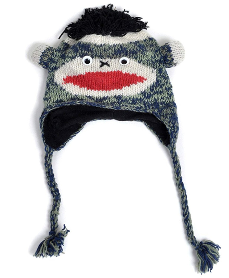 100% Wool 'Hat-imals' Plush Knit Winter Hats (Wool Collection), Blue Sock Monkey (AHW001)