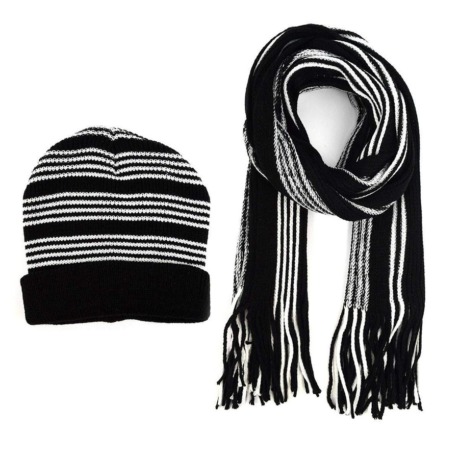 Men's Black and White Striped Knit Scarf and Beanie Hat Set Modern Style Warm & Fashionable