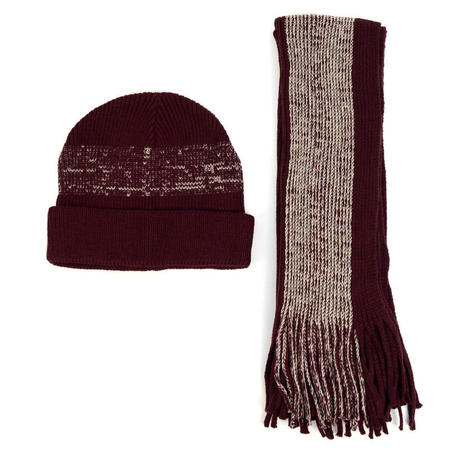Men's Winter Knit Scarf and Beanie Hat Set Burgundy Faded Stripes Fashionable & Warm
