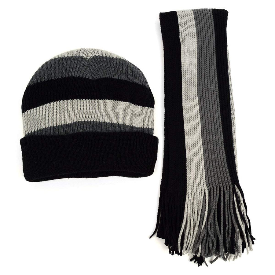 Men's Winter Knit Large Striped Scarf and Beanie Hat Set Tasseled Ends Fashionable & Warm