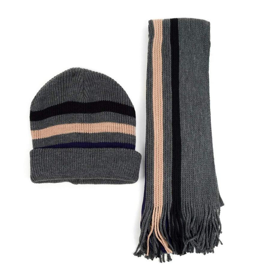 Men's Winter Knit Scarf and Beanie Hat Set Stripes Gray and Tan Fashionable & Warm
