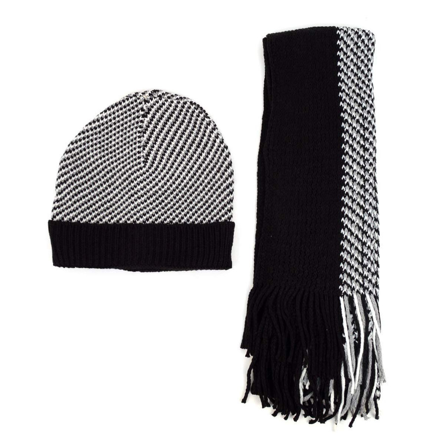 Men's Winter Knit Scarf and Beanie Hat Set Patterned Black and White Warm Fashion