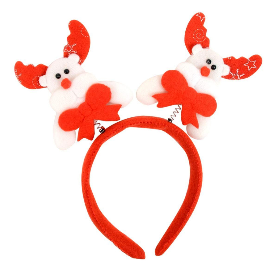 BG Red Christmas and Holiday White Reindeer Headband Polyester One Size Fits Most