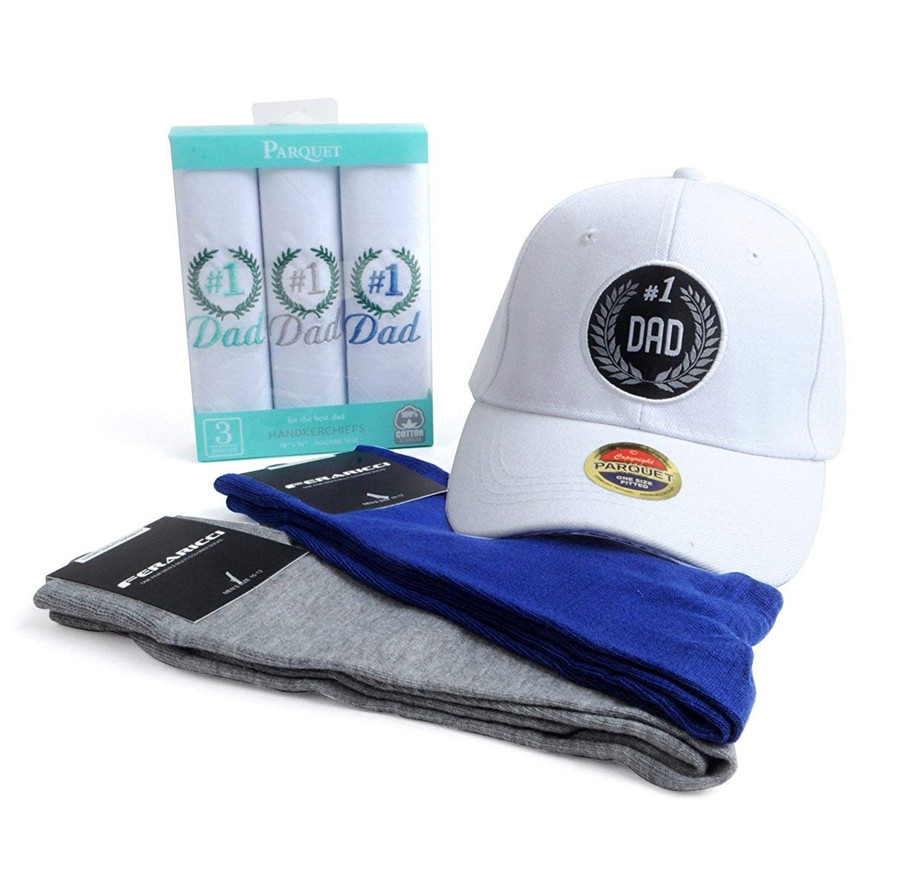 Best Dad Handkerchiefs, Cap and Socks Gift Set