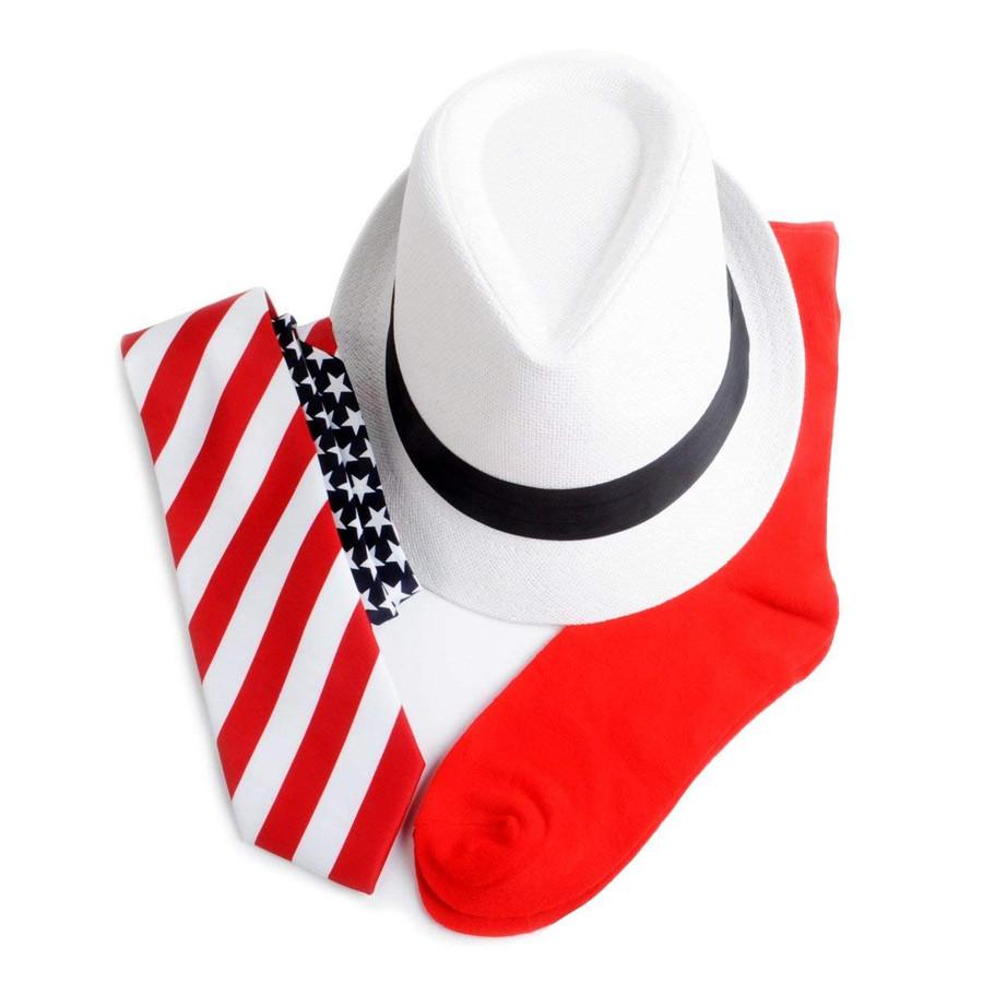America Flag Necktie, White Fedora & Red Socks for Men