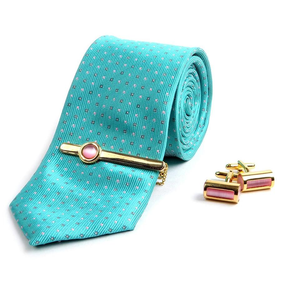Men's Elegant 3 Piece Set ( Skinny Designed Necktie, Cufflinks, and Tie bar)