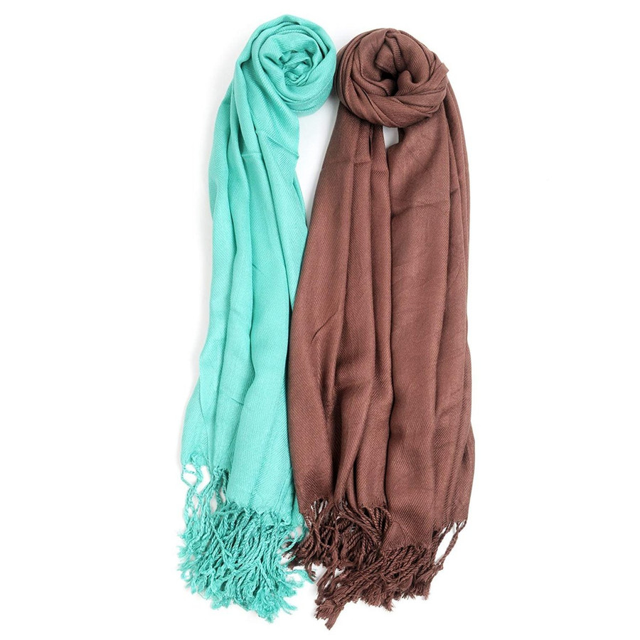 2 Pack of Solid Classic Pashmina Scarf Set