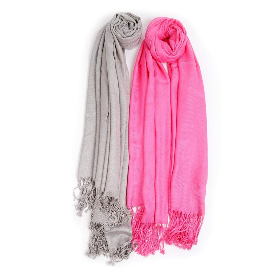 2 Pack of Solid Classic Pashmina Scarf Set - Fuchsia & Silver