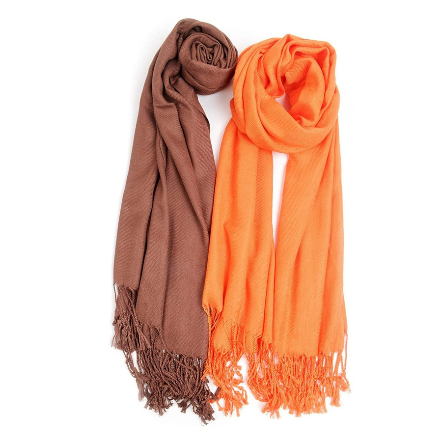 Fall inspired Solid Classic Pashmina Scarf Set