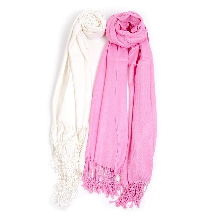 Breast Cancer Inspired Solid Classic Pashmina Scarf Set