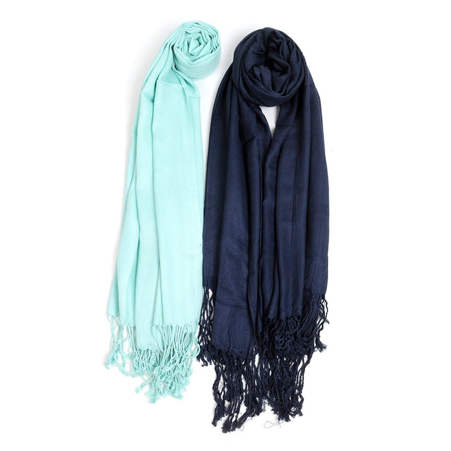 Water Color Solid Pashmina Scarf Set
