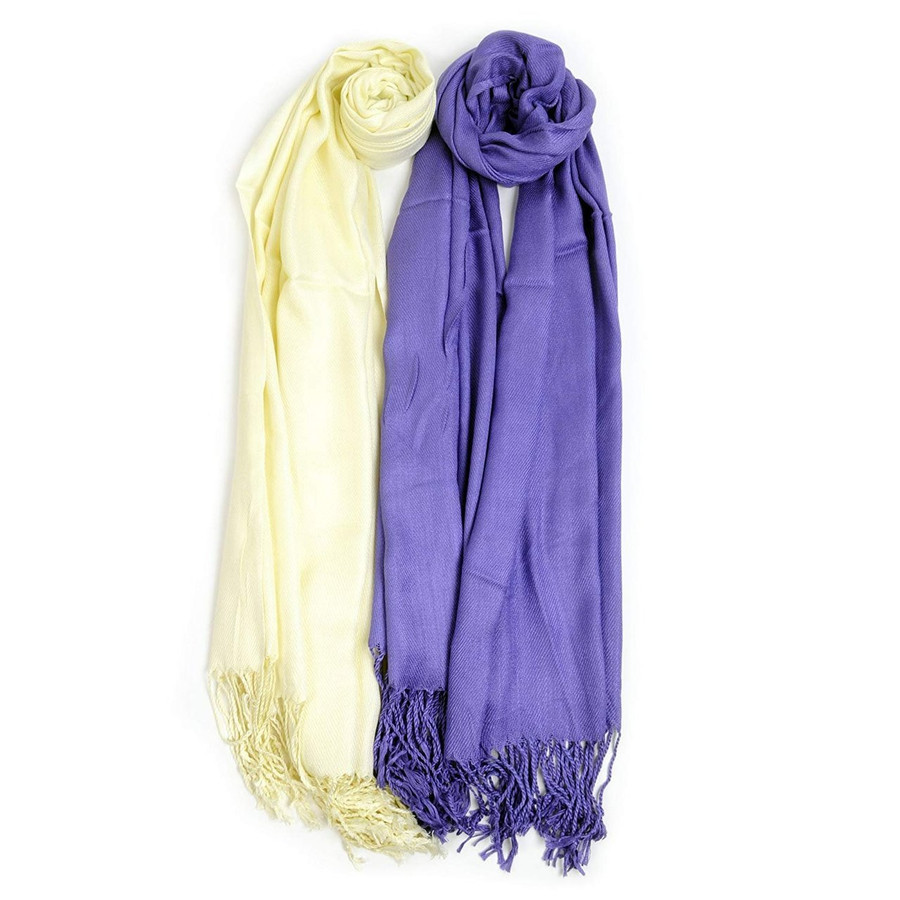 2 Pack of Solid Classic Pashmina Scarf Set - Purple & Ivory