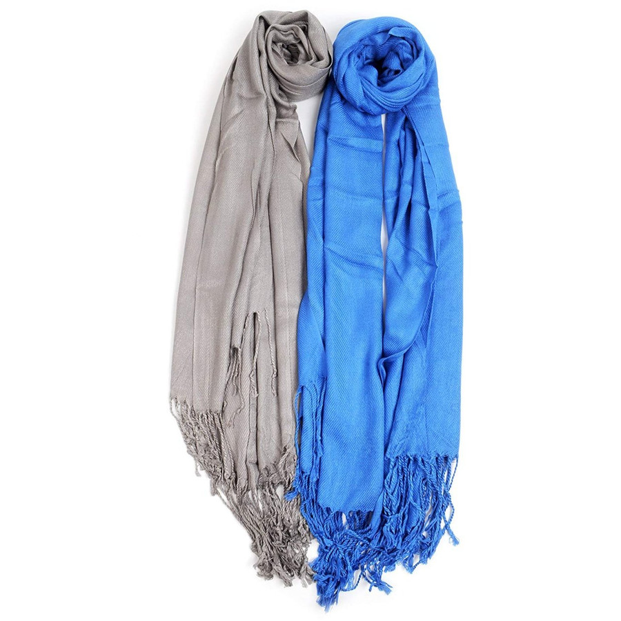 2 Pack of Solid Classic Pashmina Scarf Set - Royal Blue & Gray