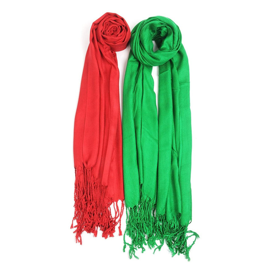 Christmas Inspired Solid Classic Pashmina Scarf Set
